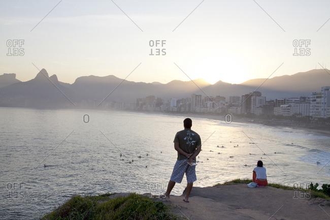 People with coastal view of Rio de Janeiro