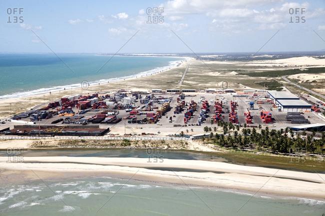 Fortaleza, Brazil - June 22, 2010: Coastal shipping harbor