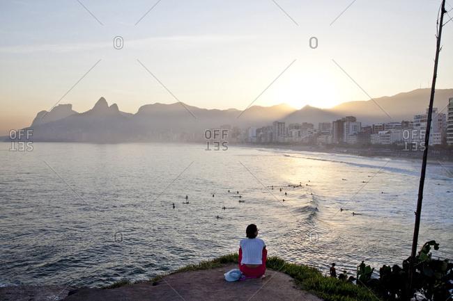 Person overlooking Ipanema beach, Rio de Janeiro