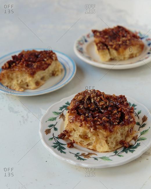 Sticky buns served on plates