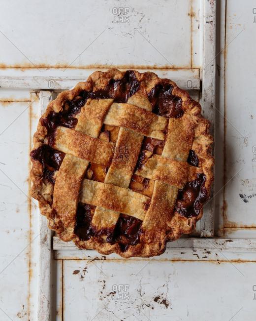 Whole apple caramel pie