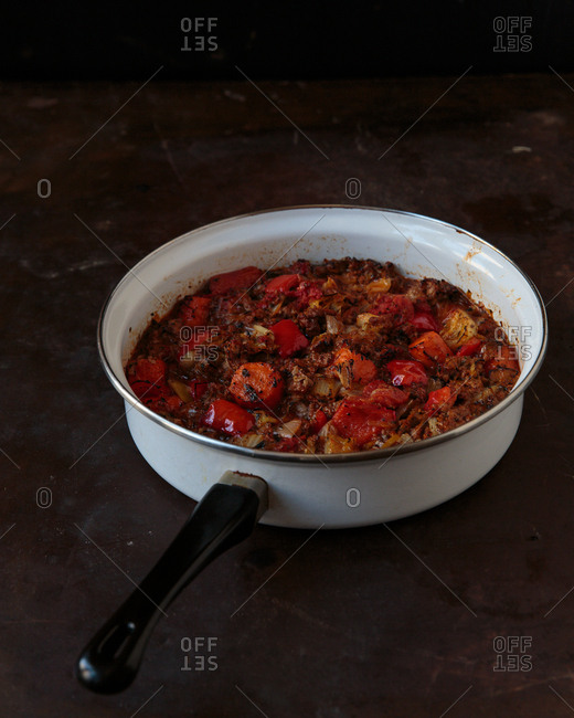 Baked stew in a saucepan