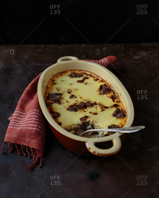 Savory custard with beef missing a serving