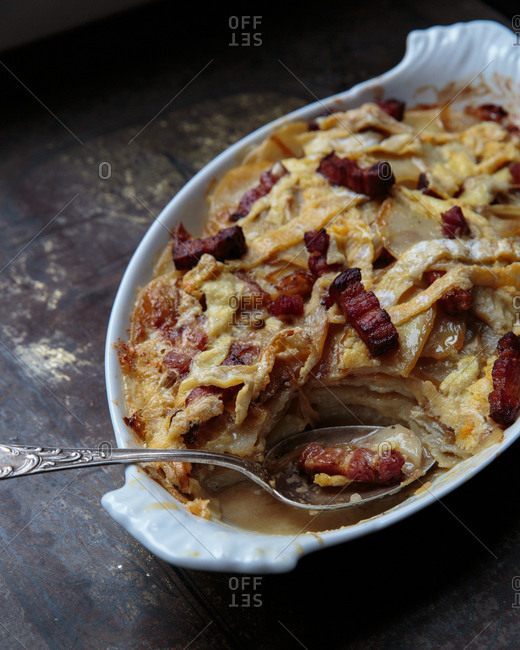 Close up of scalloped potatoes in a baking dish