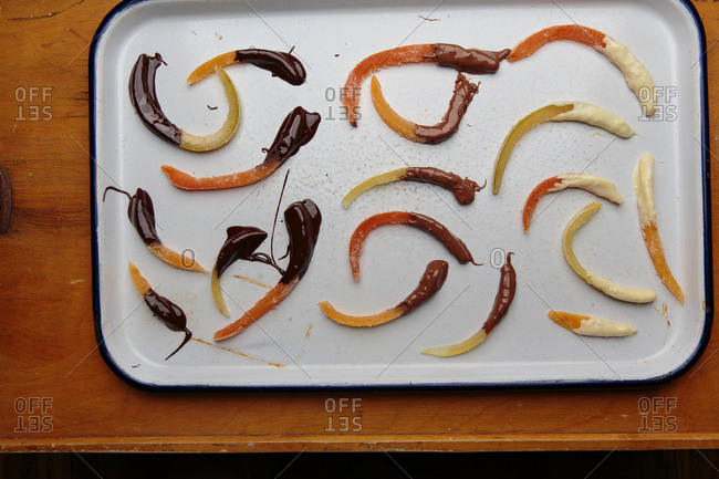 Candied grapefruit rinds dipped in chocolate