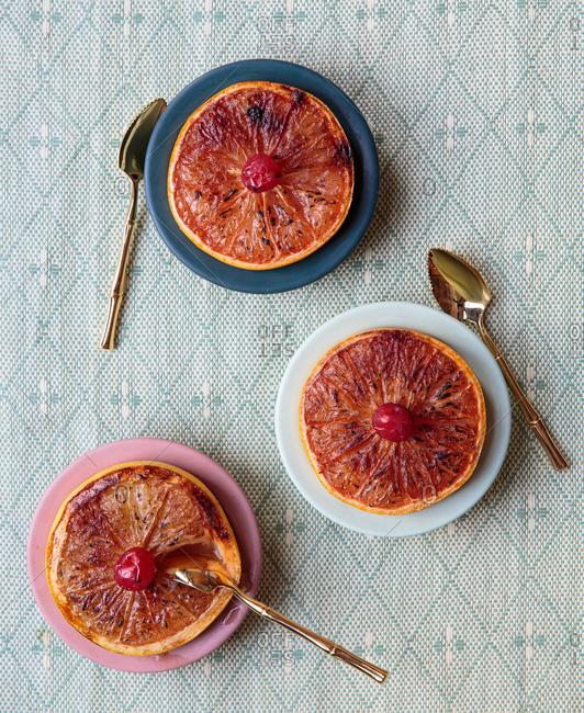Baked sugar top grapefruit plated