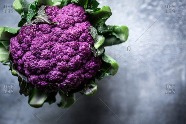 A purple cauliflower from above