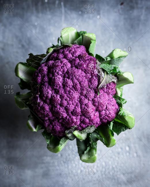 A purple cauliflower head