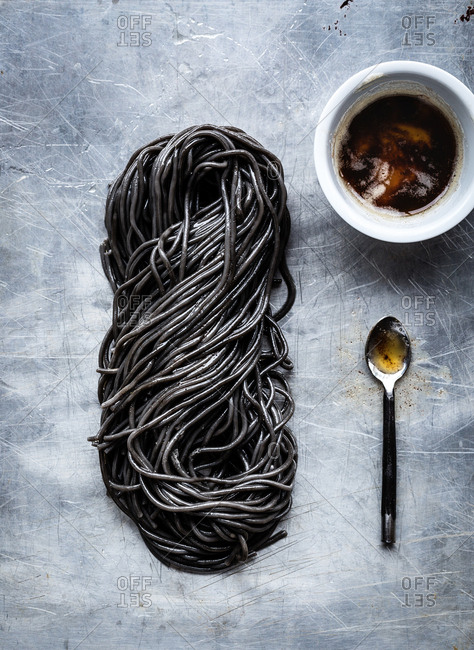 Twist of squid ink pasta