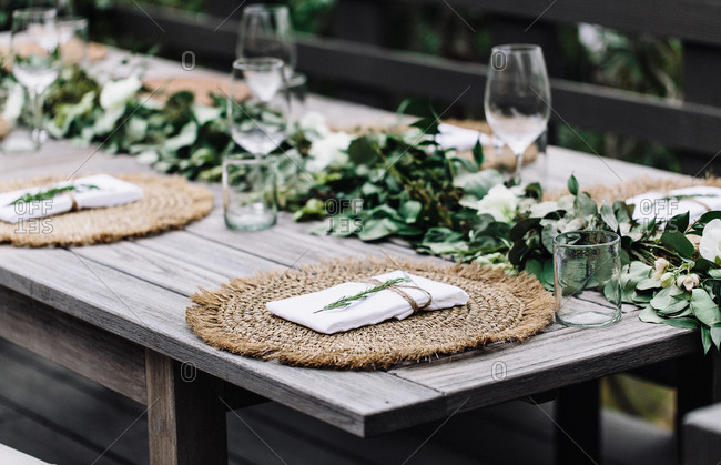 A table setting for an outdoor dinner