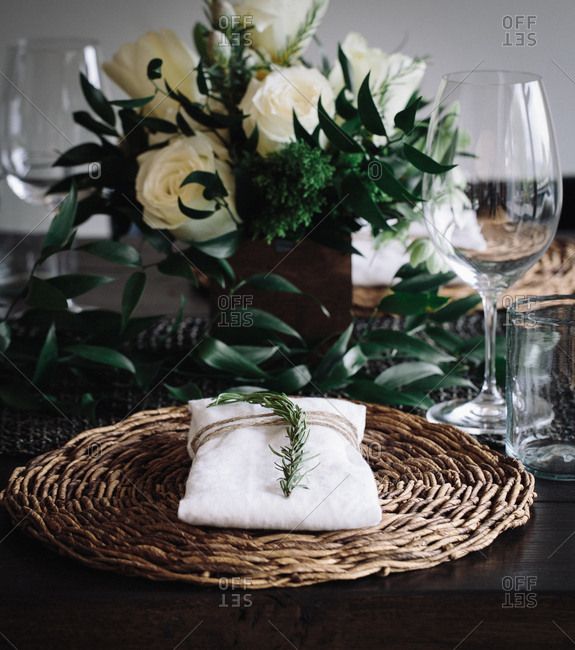 Place setting with linen napkin