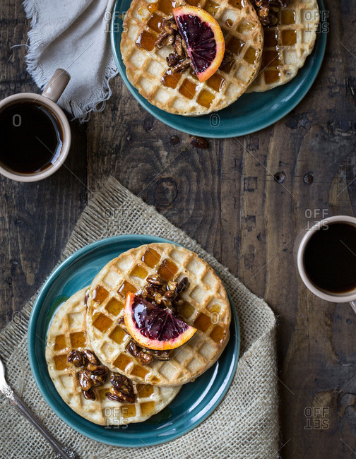 Waffles with walnuts and blood oranges