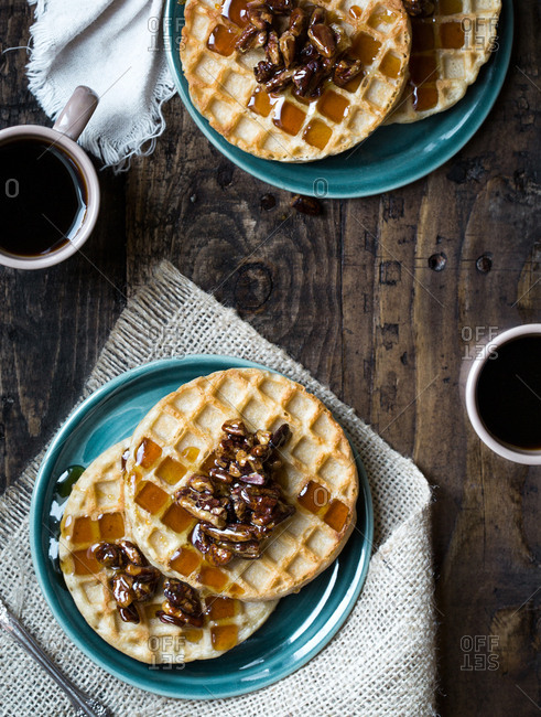 Waffles with walnuts and coffee