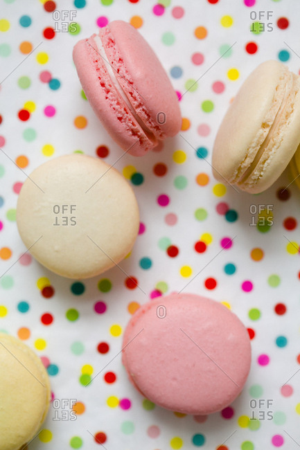Macaroons on polka dot background
