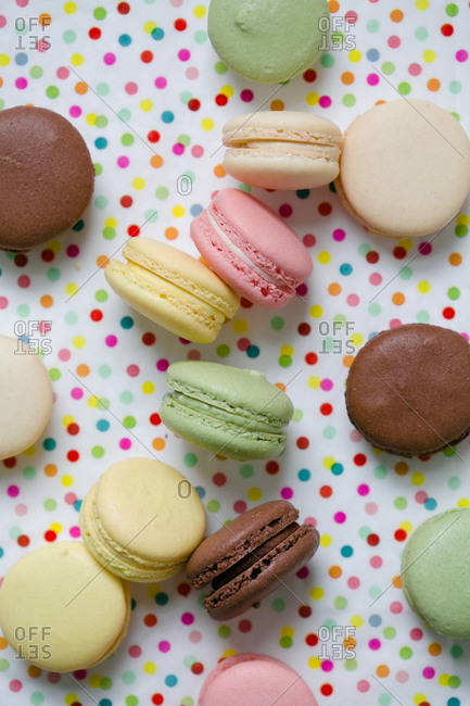 Macaroons on a polka dot background
