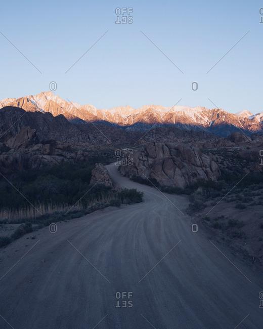 Road through Alabama Hills, California