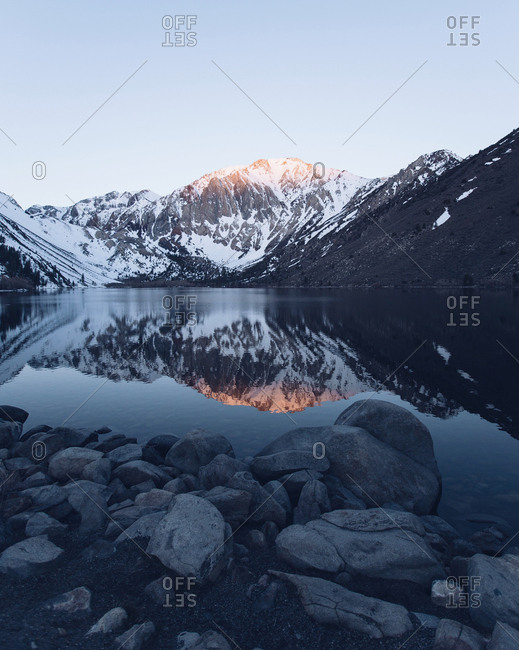 Lake nestled in California mountains