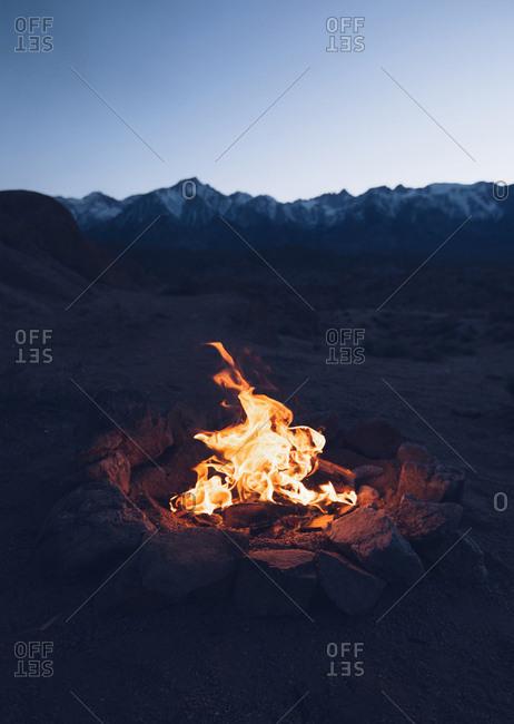 Campfire in Alabama Hills, California