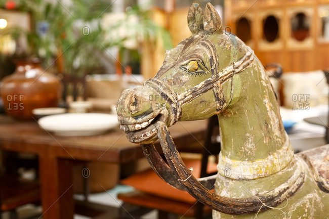 Rocking horse in antique shop