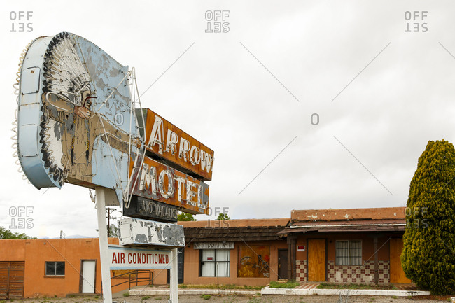 Espanola, New Mexico - May 10, 2017: Abandoned motel in New Mexico