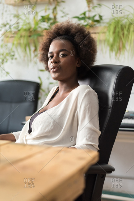 Woman sitting at an office