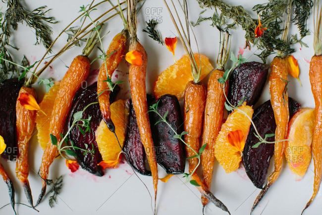 Roasted oranges and veggies