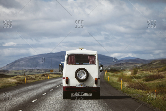 Iceland - June 14, 2013: Recreational Vehicle on the road