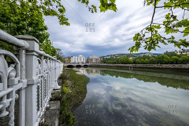 Ribera on the river Urumea as it passes through the city of San Sebastian Donostia Basque Country Spain