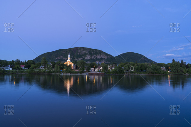 Mountain during sunset, Mont St-hilaire, Quebec, Canada