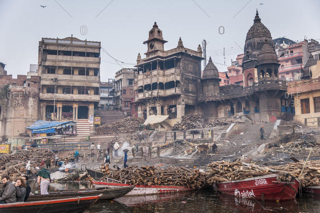 India, Uttar Pradesh, Varanasi - January 29, 2013: Manikamika Gath is a Burning Ghat, place for ritual cremations