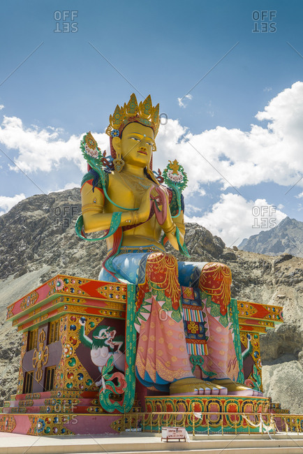 India, Ladakh - August 14, 2014: Diskit Monastery, the giant Buddha