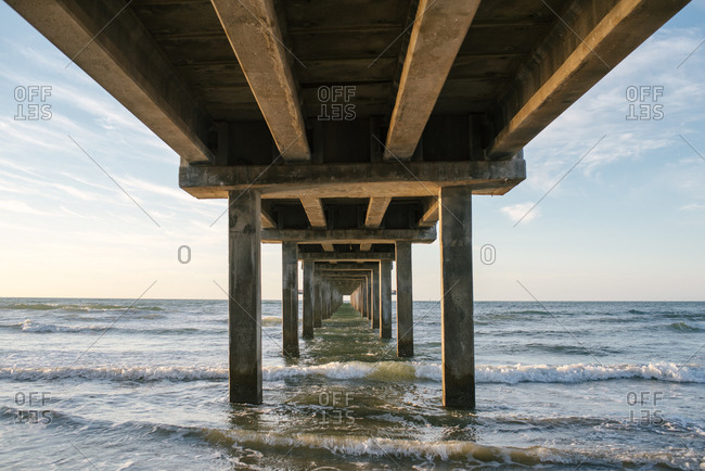 Underneath a pier in the sea