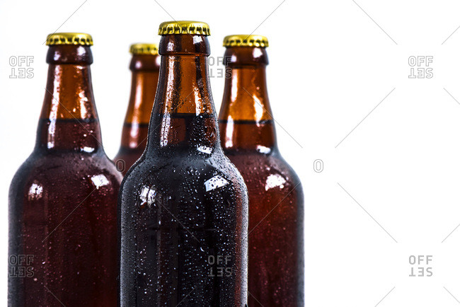 Beer bottles with a white background photographed from front view