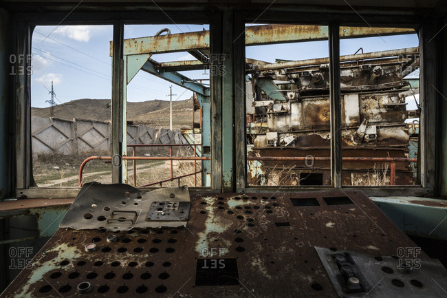 Shirak, Armenia - March 10, 2016: Abandoned command cabin from a Soviet-era factory