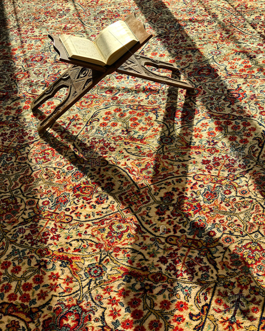 Quran on a stand in mosque