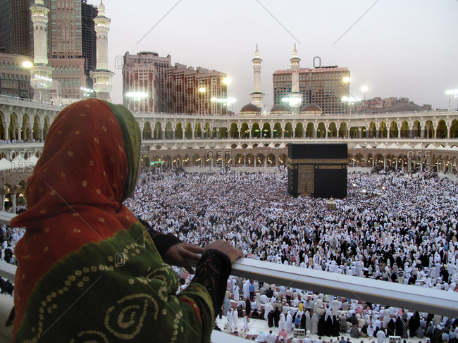 4/25/09 - A Muslim woman is looking at Kaaba in Mecca, Saudi Arabia