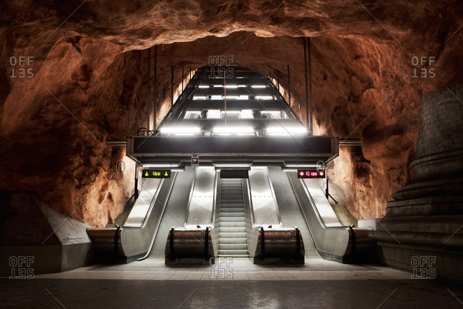 Stockholm, Sweden - January 15, 2014: Escalators in Stockholm metro, the so called Tunnelbana
