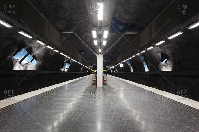 Stockholm, Sweden - January 15, 2014: Empty metro station at the Stockholm Metro, the so called Tunnelbana