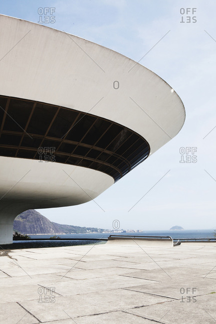 Rio de Janeiro, Brazil - October 1, 2013: The Niteroi Contemporary Art Museum is located in Rio de Janeiro and designed by Oscar Niedmeyer and is one of Rio's main landmarks