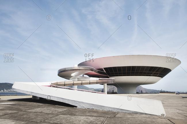 Rio de Janeiro, Brazil - October 1, 2013: The Niteroi Contemporary Art Museum is located in Rio de Janeiro and designed by Oscar Niedmeyer and is one of Rio's main landmarks