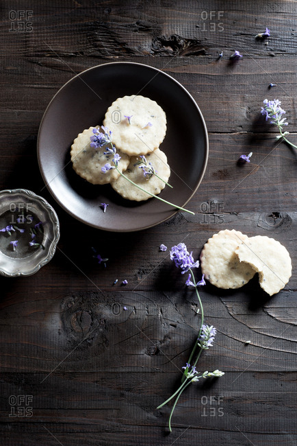Lavender Cookies on a wood table