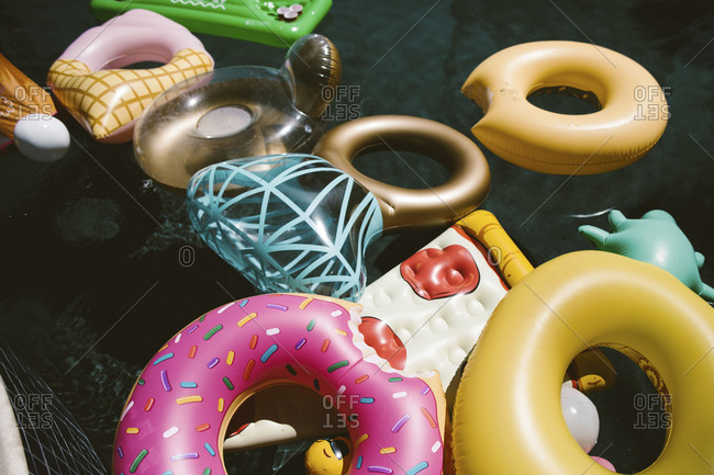 Colorful float toys in a pool