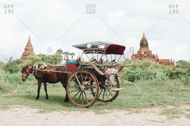 Horse-drawn carriages by temples in Bagan, Myanmar