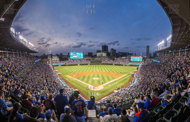 Chicago, Illinois - May 30, 2017: Wrigleyville, the Wrigley Field during a Chicago Cubs match