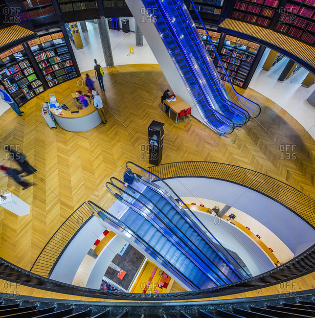 Birmingham, England - May 30, 2017: Library of Birmingham (architect Francine Houben), the interior