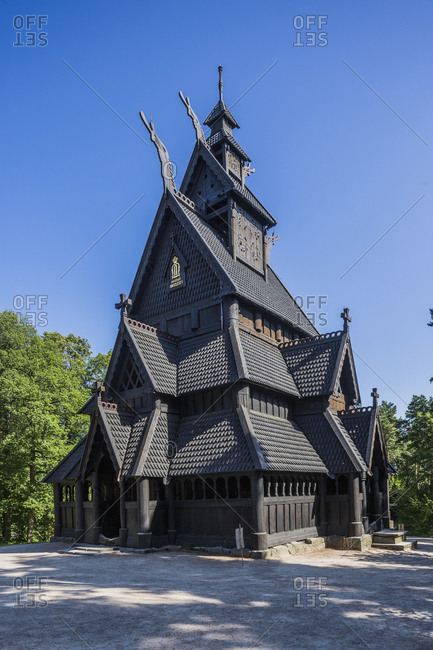 Oslo, Norway - May 30, 2017: Bygdoy Peninsula, Folk museum (Norwegian Museum of Cultural History),  an open-air museum with historical buildings relocated from town and rural districts, King Oscar II's Collection, the Gol Stavkirke (Gol Stave Church - 13th Century)