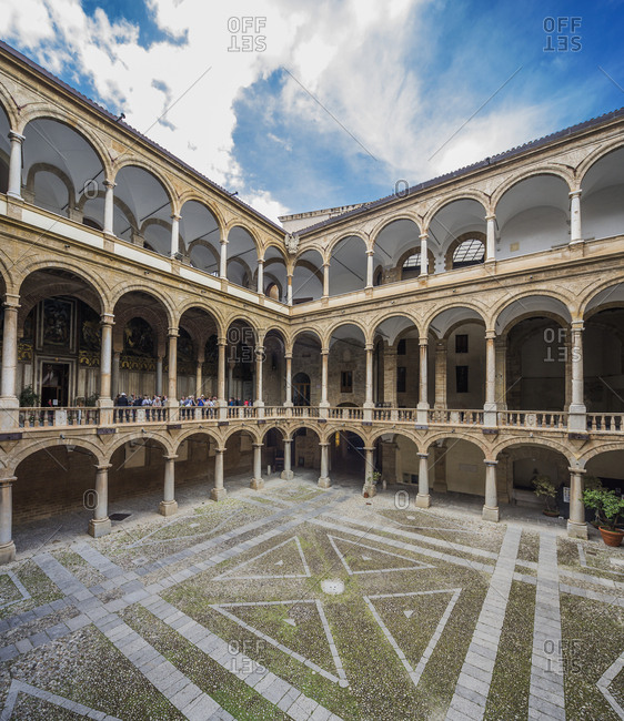 Sicily, Italy - May 30, 2017: Palazzo (palace) dei Normanni, view of the Maqueda courtyard (17th century)