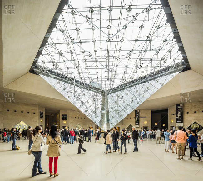 Paris, France - May 30, 2017: Carrousel du Louvre, the Inverted Pyramid (La Pyramide Inversee) designed by architects Pei Cobb Freed & Partners