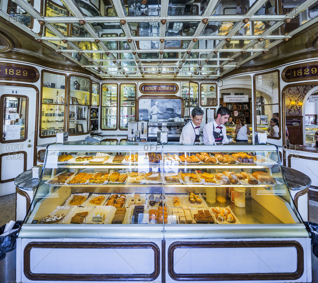 Lisbon, Portugal - May 30, 2017: The interior of the Confeitaria National, an historical pastry shop founded in 1829