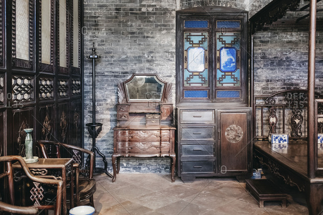 Guangzhou, China - April 29, 17: Ancient Chinese style home interior